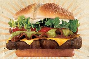 México: com guacamole, hambúrguer de carne tipo Angus preparado a la parrilla, maionese, alface, tomate, bacon, tomate, cheddar e molho guacamole (Burger King)